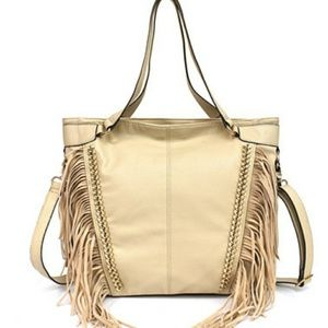 Jessica Simpson Cream Fringe Purse